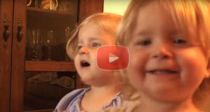 Cute Twin Girls Reciting the Lord's Prayer